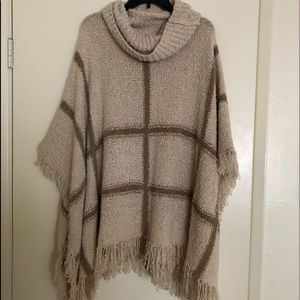 Mystree turtleneck knit tan and brown poncho